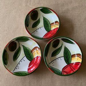 Pampered Chef Hand Painted Dipping Bowls Set of 3